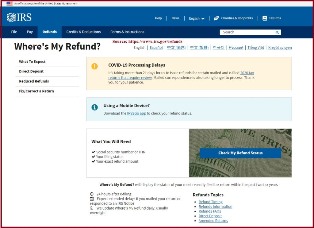 Your Tax Return is Still Being Processed. A Refund Date will be Provided When Available